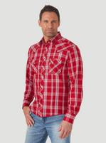 Men's Wrangler Red Plaid Snap Long Sleeve Shirt