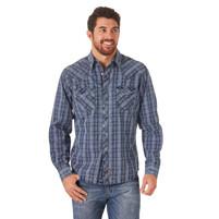 Men's Wrangler Premium Blue Plaid Long Sleeve Shirt