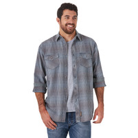 Men's Retro Long Sleeve Button Down Shirt Blue Brown Plaid