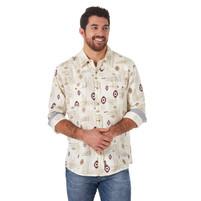 Men's Wrangler Retro Southwestern Print Khaki Long Sleeve Shirt
