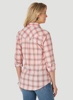 Women's Wrangler Essential Blue Red Plaid Long Sleeve Shirt