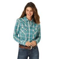 Women's Wrangler Retro Vintage Turquoise Long Sleeve Shirt