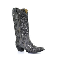 Women's Corral Grey with Glitter and Stones Western Boot