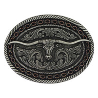 Montana Silversmiths Antiqued Round Barbed Longhorn Attitude Buckle