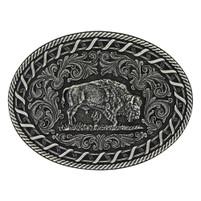 Montana Silversmiths Antiqued Buck Stitch Oval Buffalo Attitude Buckle