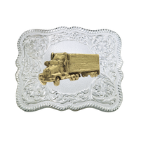 Montana Silversmiths Scalloped Silver Engraved Buckle with Pick-Up Truck