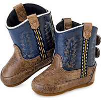 Old West Navy and Brown Kid's Cowboy Boots (Infant's sz 0-4)