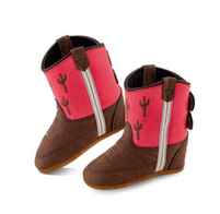 Old West Pink and Brown with Cactus Kid's Cowboy Boots (Infant's sz 0-4)