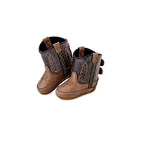 Old West Brown with Yellow Feather Kid's Cowboy Boots (Infant's sz 0-4