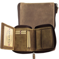 Adrian Klis Zip Bifold Wallet Brown Bison Leather