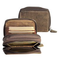Adrian Klis Double Zipper Card Accordian and Coin Pouch