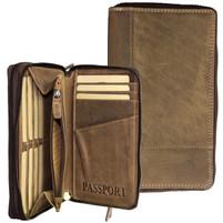 Adrian Klis Leather Double Zipper Wallet / Passport Holder