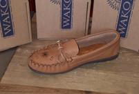 Wakonsun Women's Camel Leather Sole Moccasin