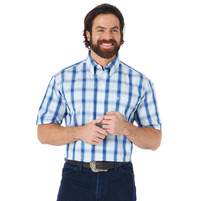 Men's Wrangler Classic Short Sleeve Shirt Blue