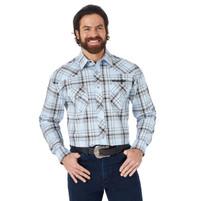 Wrangler Logo Long Sleeve Western Snap Blue Plaid Shirt