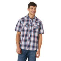 Men's Wrangler Retro Short Sleeve Snap Pocket Plaid Shirt Blue