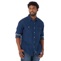 Wrangler Men's Retro Long Sleeve Western Snap Printed Shirt Blue