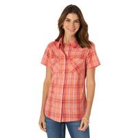 Wrangler Women's Essential Shirt Peach Plaid