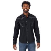 Men's Wrangler Rock 47 Long SLeeve Embroidered Yoke Solid Black Western Shirt