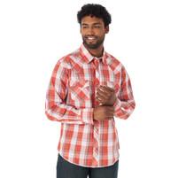 Men's Wrangler Long Sleeve Western Snap Plaid Shirt Coral
