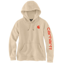 Women's Carhartt Logo Sleeve Sweatshirt White Truffle