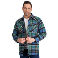 Men's Wrangler Western Long Sleeve Flannel  Blue Green Plaid With Quilted Lining