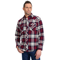Men's Wrangler Long Sleeve Brushed Red and Blue Flannel Plaid