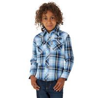Boy's Wrangler Logo Western Plaid Shirt Blue