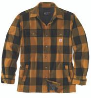 Men'a Carhartt Heavyweight Flannel Sherpa Lined Jacket Shirt Carhartt Brown