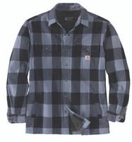 Men'a Carhartt Heavyweight Flannel Sherpa Lined Jacket Shirt Folkstone Gray
