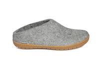 Glerups Grey Wool Rubber Sole Slipper