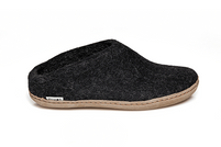 Glerups Charcoal Wool Leather Sole Slippers