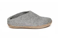 Glerups Grey Wool Leather Sole Slipper