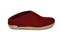 Glerups Red Wool Leather Sole Slippers