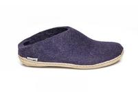 Glerups Purple Wool Leather Sole Slippers