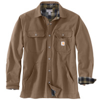 Men's Carhartt Ripstop Flannel Lined Snap Button Shirt Jacket Canyon Brown