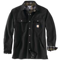 Men's Carhartt Ripstop Flannel Lined Snap Button Shirt Jacket Black