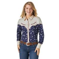 Women's Wrangler Paisley Navy Western Snap Shirt