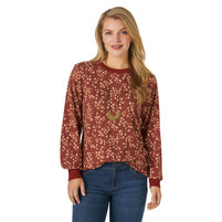 Women's Wrangler Floral Ribbed Rust Top
