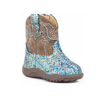 Roper Toddler/Infant Western Boot Brown with Blue Glitter
