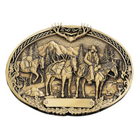Montana Silversmiths Attitude Buckle Pack Horses and Rider Brass