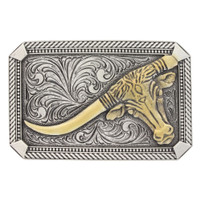 Montana Silversmiths Two Tone Leaning Long Horn Attitude Buckle