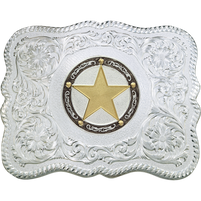 Montana Silversmiths Scalloped Silver Engraved Buckle with Star Figure