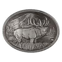 Montana Silversmiths Gunmetal Outdoor Series Wild Elk Carved Buckle