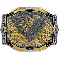 Montana Silversmiths Cracked Earth Custom Buckle with Bull Rider
