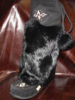 "Laurentian Chief Women's Black 16"" Rabbit Fur Mukluks"