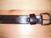 Oxblood Leather Belt with Arrow Stitch