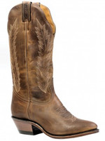 Women's Boulet Oiled Brown Medium Cowboy Toe Western Boot
