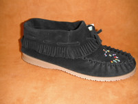 Women's Amimoc Suede Papoose Black Moccasin with Rubber Sole