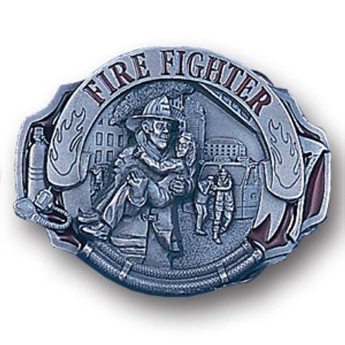 Firefighter Pewter and Enamel Belt Buckle